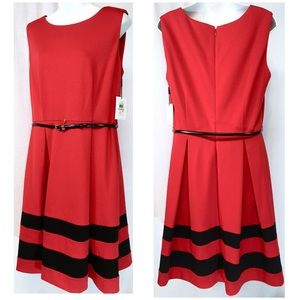 Calvin Klein Red Sleeveless Dress with Black Trim